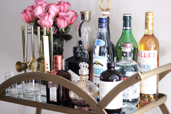 Erika Brechtel how to style a bar cart essentials top shelf