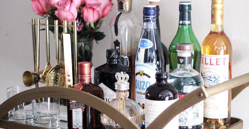 Erika Brechtel how to style a bar cart essentials top shelf