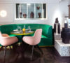 Bronte Restaurant Strand London by Tom Dixon DRS green banquettes pink chairs