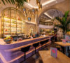 Bronte Restaurant Strand London by Tom Dixon DRS pink gold bar pendants palms