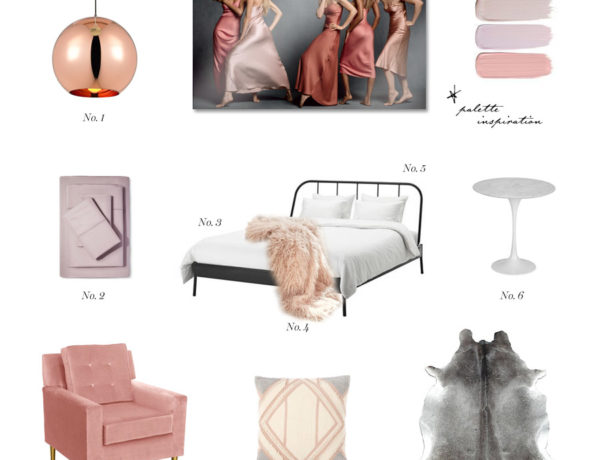 Erika Brechtel bedroom mood blush fur silk mauve gray Vogue