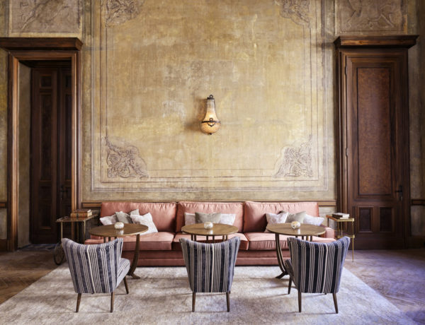 Soho House Istanbul painted walls wood doors rose sofa