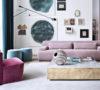 Meridiani Italian furniture Norton rose velvet sofa Belt gold leaf table Keaton velvet armchair feat