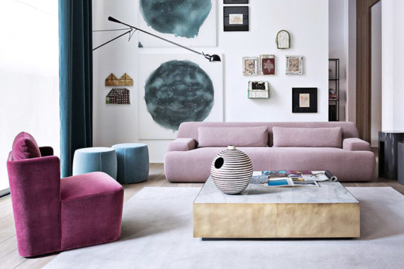Meridiani Italian furniture Norton rose velvet sofa Belt gold leaf table Keaton velvet armchair feat