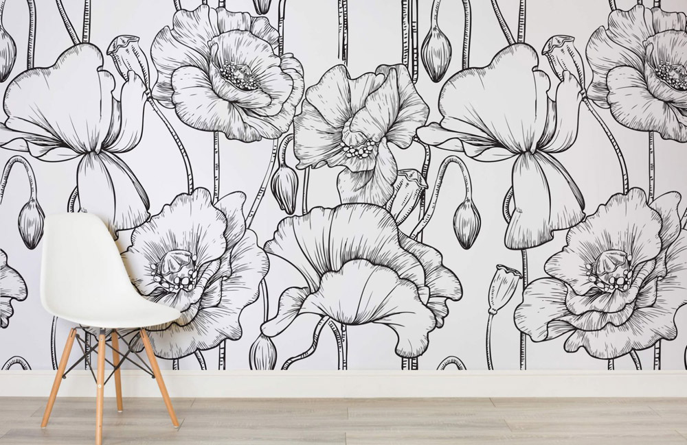 Black and white wall murals black and white wallpaper for Black and white tree wallpaper mural