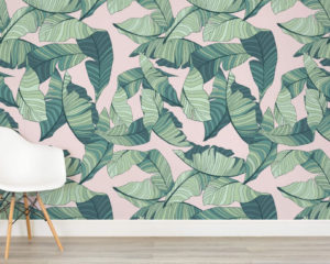 murals wallpaper pink and green banana leaf