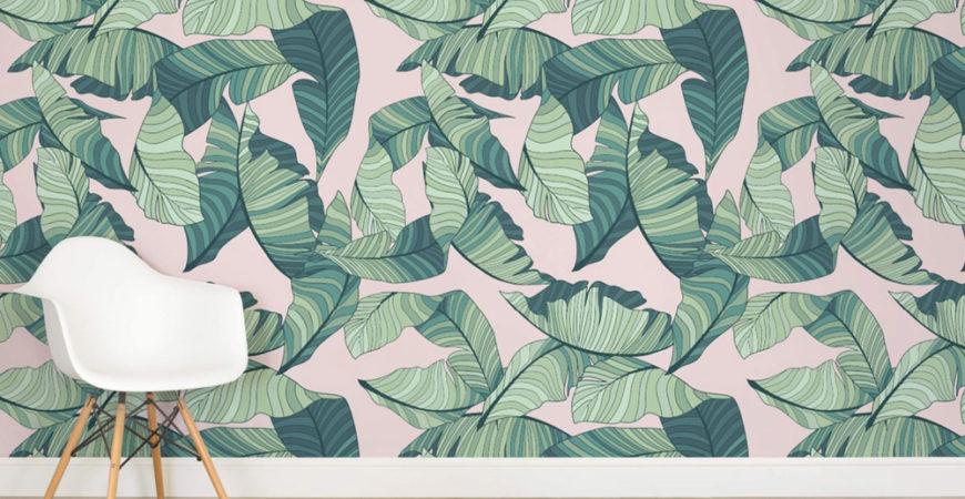 murals wallpaper pink and green banana leaf