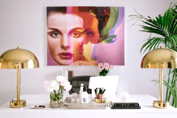 office decor Erika Brechtel white desk brass lamps Richard Phillips art palm