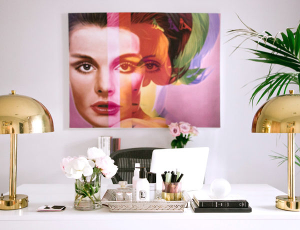 office decor Erika Brechtel white desk brass lamps Richard Phillips art palm