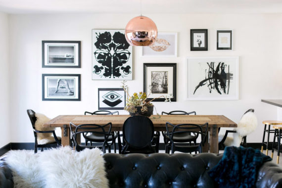 Yuki Pitkin California ranch house renovation photo by Jen Daigle styled by Erika Brechtel dining room mixed black chairs Gray Malin gallery wall Tom Dixon copper pendant feature