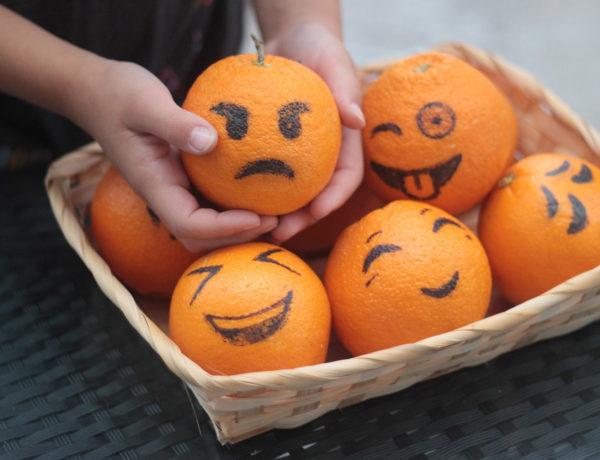 Halloween orange jack o lanterns Erika Brechtel kids craft emojis basket 01