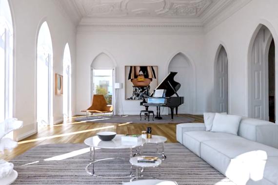 Santa Helena Lisbon Portugal Michael Fassbender home piano room high paneled ceilings arch windows