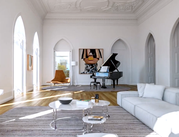 Santa Helena Lisbon Portugal Michael Fassbender home piano room high paneled ceilings arch windows